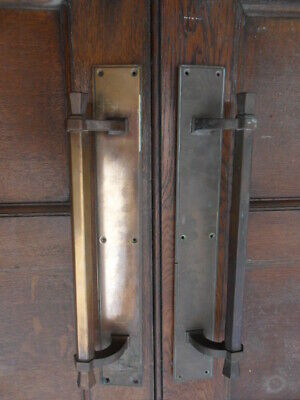 pair of antique large art deco brass double door handles with back plates 21DDH