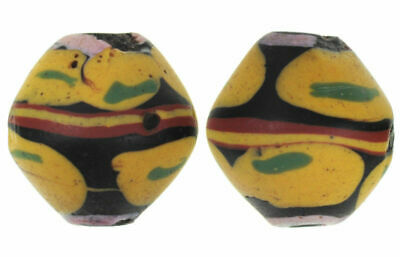 Antique Venetian wound glass African Trade Beads pair of black Bicone King