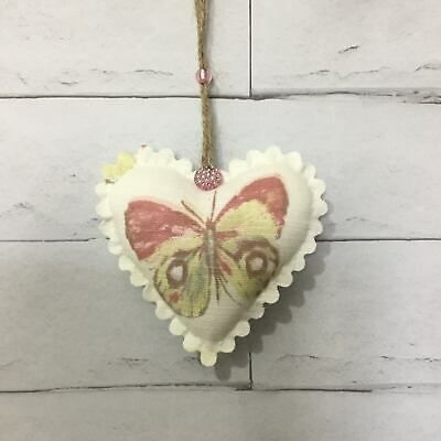 Pink/Green Butterfly Fabric Hanging Door Heart Handmade Shabby Chic Vintage Gift