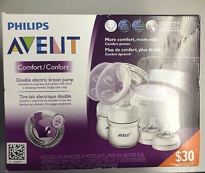 Philips AVENT Double Electric Comfort Breast Pump SCF334/12 !New Factory Sealed!