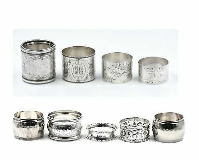 9 Antique Napkin Rings Hammered Engraved Sterling Silver Kirk Watrous Griffin