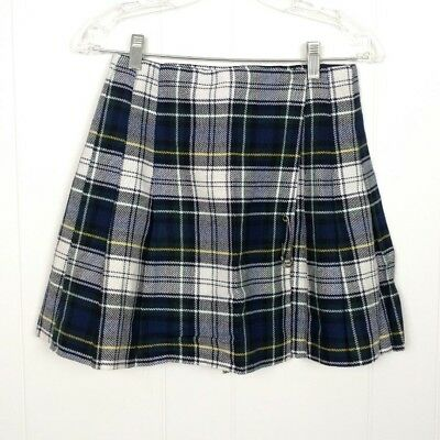 VTG SEARS JR Bazaar Girls Wrap Schoolgirl Skirt Plaid Size 11 Blue Pleated Used