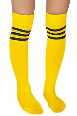 20X(Soccer Baseball Football Basketball Sport Women Socks Yellow + Black E6V8)