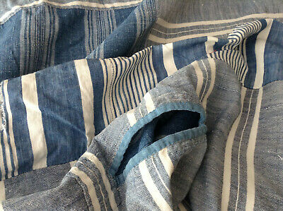 Antique vinatge French Cotton striped ticking matress cover fabric Indigo Blue