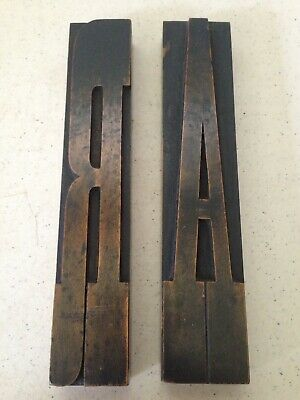 Pair of Antique Wooden Ink Stamp Blocks Letters A & R