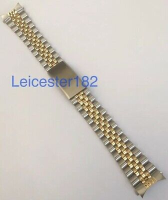 20mm 22mm RLX Seiko Two Tone Jubilee Style Watch Bracelet With Curved End Links