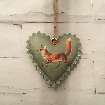 Vintage Fox Sage Green Handmade Fabric Hanging Heart Shabby Chic Decoration Gift