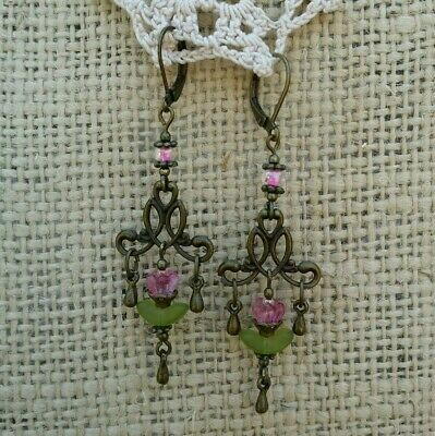 Vintage Victorian Style Earrings Pink Glass Flower Bead Chandelier Dangle Drop