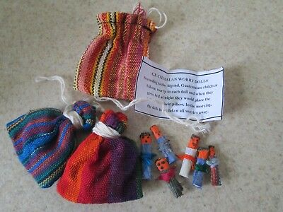 Guatemalan Worry Dolls POUCH Hand Made Mayan Trouble Doll Bag LOT of 3