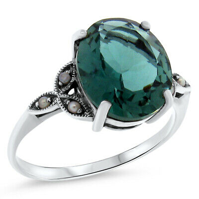 5 Ct. Sim. Emerald Antique Victorian Design .925 Silver Ring Size 8,        #535