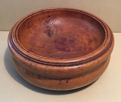 Stunning Vintage Antique Oak Burr Large Hand Turned Wooden Bowl 30 cm Diameter