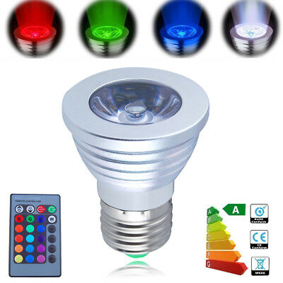 E27 Edison Screw 3W LED Bulbs RGB colorful Changing Spotlight Lamp + IR Remote