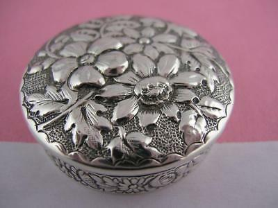 Sterling Silver GORHAM Pill Box ornate Floral Repousse