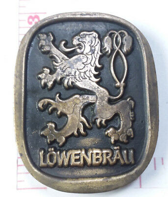 Vintage Lowenbrau Beer Miller Solid Brass Belt Buckle 994
