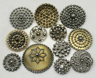 Antique Vintage Victorian Buttons w/CUT STEELS ~ Mixed Lot of 12, Medium/Large