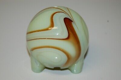 "Vintage 3"" Art Deco Footed Swirl Paperweight with Hollow Light Cavity"