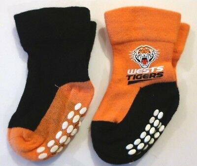 Baby Boys NRL Wests Tigers Socks Size 0 - 6 months ~ 2 Pack ~ MBC