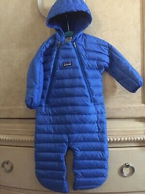 cb4b14043 ❤️Patagonia Baby Infant Boy Sz 6-12 Month Goose Down Bunting Puffer Snowsuit