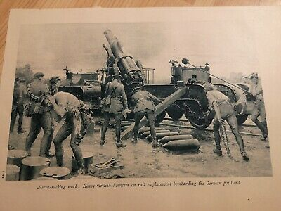 WWI ANTIQUE PRINT Heavy British howitzer on rail emplacement bombarding Germans