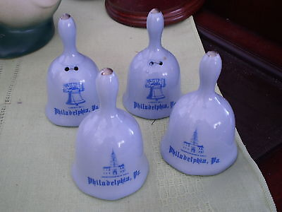 Set Of 4 Porcelain Liberty Bell / Independence Hall Bells - Philadelphia Pa
