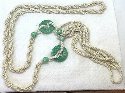 Vintage Antique Chinese Carved Jade & white Bead Necklace, 25""