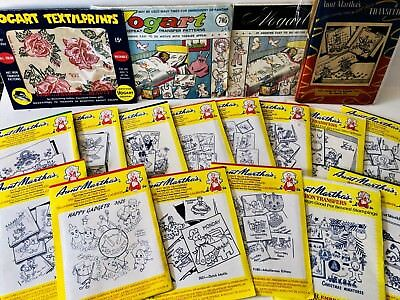 Aunt Marthas Vogart Hot Iron Transfers Vintage Lot of 23 Uncut & Cut Embroidery