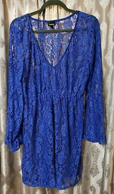 baeea5e49b922 Torrid Size 1 Swimsuit Coverup Blue Lace Bell Sleeves NWOT 1X 14 16