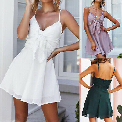 Mini Sling Women V-neck Backless Sundress Ruffles Knotted Straps Princess Dress