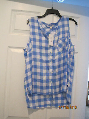 NEW w tags FEVER Split Back Plaid Sleeveless Shirt Top Size L Large Blue