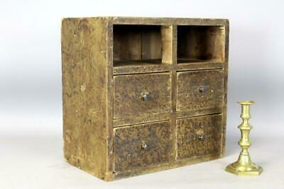 Great 19Th C 4-Drawer Apothecary Or Spice Chest In Original Fancy Grain Paint