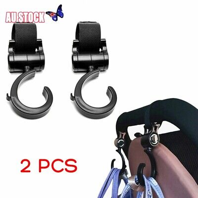 Hook and Stroll Pram/Stroller/Buggy Clips/Hooks 2 PACK - Style Safe Bag Hanger