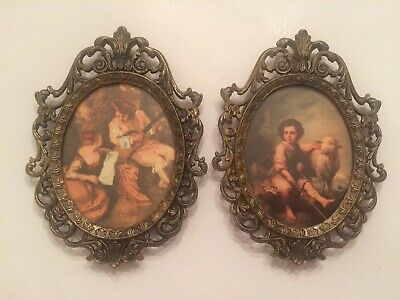Vintage Lot 2 Ornate Metal Picture Frames Oval Glass Made In Italy - Action