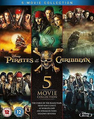 Pirates of the Caribbean 1-5 Collection (Blu-ray, 5 Discs, Region Free) *NEW*
