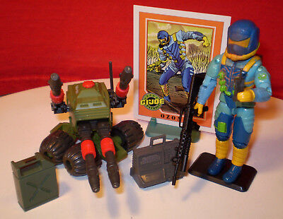 1983 Vintage Arah Gi Joe Pac Rat Machine Gun Vehicle & Operator 1991 Ozone Cards