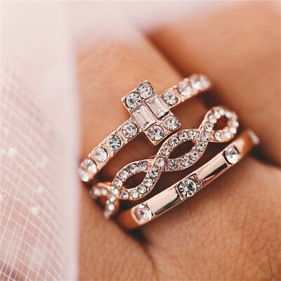 3Pcs/lot 18K Geometry  Crystal Rings Set For Women Girls Jewelry Present Newly