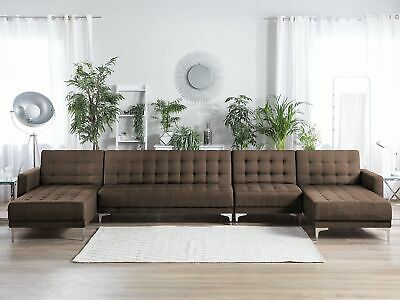 Modular U-Shaped Sofa Bed 1-Seat Piece 2 Chaises 6 Seater Brown Fabric Aberdeen