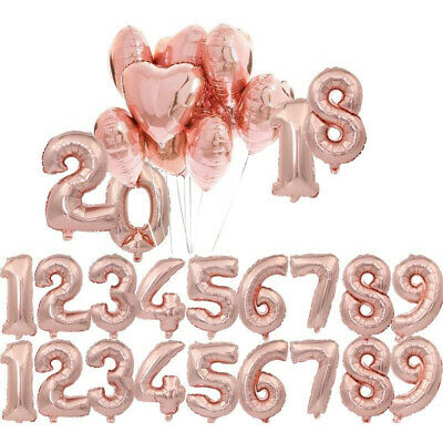 "40"" Rose Gold Number Foil Helium Balloons for Wedding Birthday Party Decoration"
