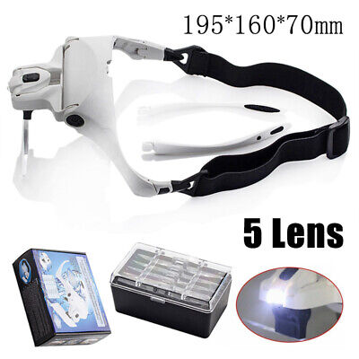 Headband Head Magnifier with 5 Lens LED Light Jeweler Loupe Glass Magnifying Set