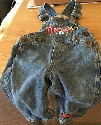 Disney Micky Mouse Dungarees 18 Months Baby Boy With Poppers