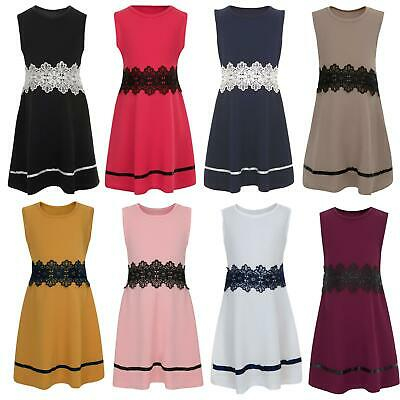 Girls Textured Sleeveless Casual Party Skater Dress With Lace Waist 3-14 Years