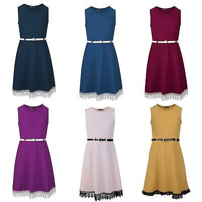 Girls Textured Belted Casual Smart Party Skater Dress With Lace Hem 3-14 Years
