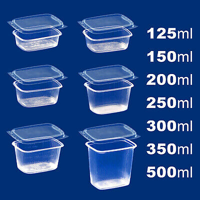 Plastic BOXES Clear RECTANGULAR FOOD CONTAINERS Storage with Lids Deli +Micro-OK