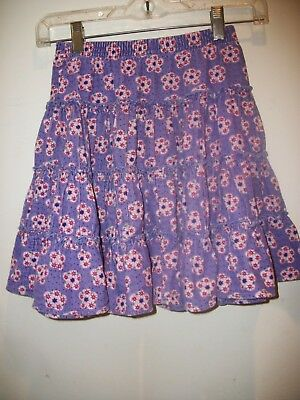 f691498d4cb Hanna Andersson girls skirt 120 6 7 8 PURPLE CORDUROY FLORAL TIERED SKIRT