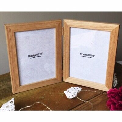 Solid Oak Double Hinged Photo Picture Frame Wood Wooden Glass Top Quality - UK