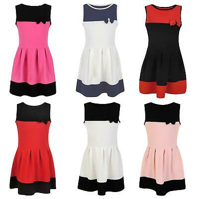 Girls Textured Casual Sleeveless Skater Summer Party Dress With Bow 3-14 Years