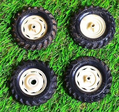 Britains Tractor Rear Tyres pair 48mm OD Slotted Pack #107 Vintage Manufacture