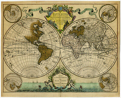 Antique Map-WORLD-MAPPE MONDE-VOYAGES-De L'Isle-Sanson-Covens Mortier-c. 1740