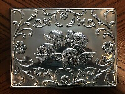Beautiful Solid Silver Topped Jewellery Box-Famous 5 Angels Images