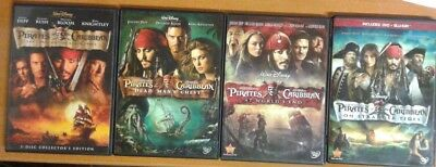 PIRATES OF THE CARIBBEAN 1 2 3 4 DVD Complete Set Like New Lot 100% Original