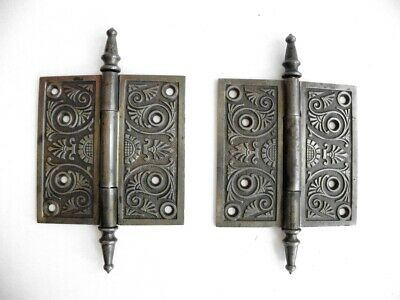 Pair Cast Ornate Victorian Eastlake Door Hinges 5 X 5, Steeple Pins, Cleaned